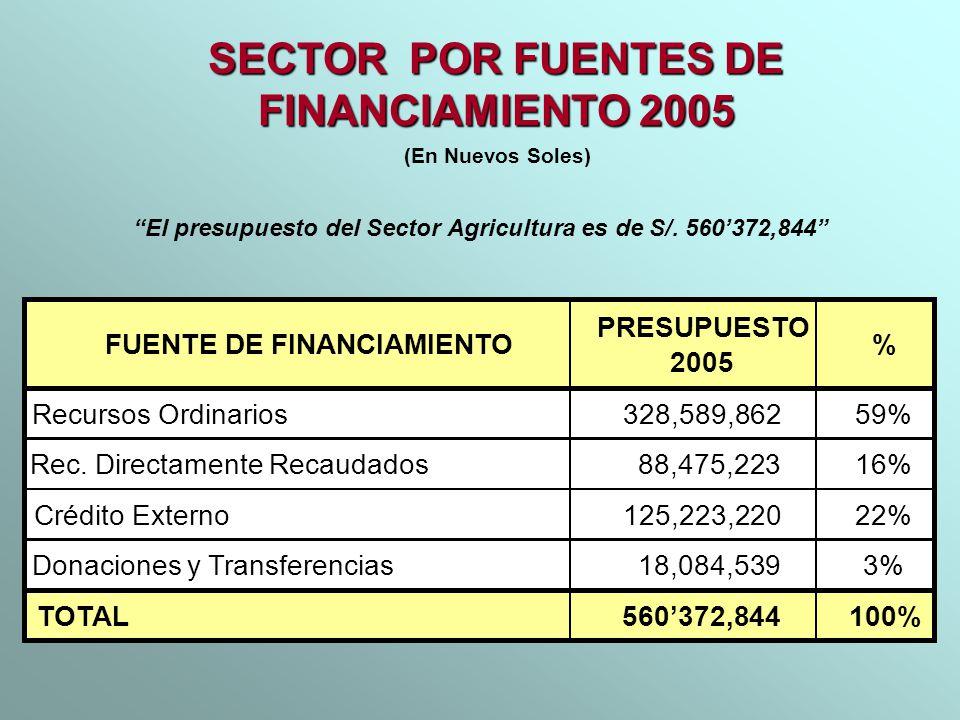 SECTOR POR FUENTES DE FINANCIAMIENTO 2005 (En Nuevos Soles) FUENTE DE FINANCIAMIENTO PRESUPUESTO 2005 % Recursos Ordinarios328,589,862 59% Rec. Direct