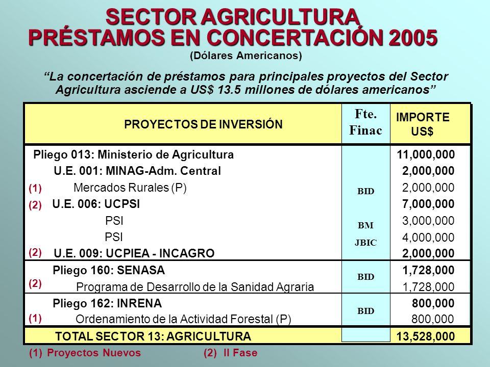 SECTOR AGRICULTURA PRÉSTAMOS EN CONCERTACIÓN 2005 (Dólares Americanos) La concertación de préstamos para principales proyectos del Sector Agricultura