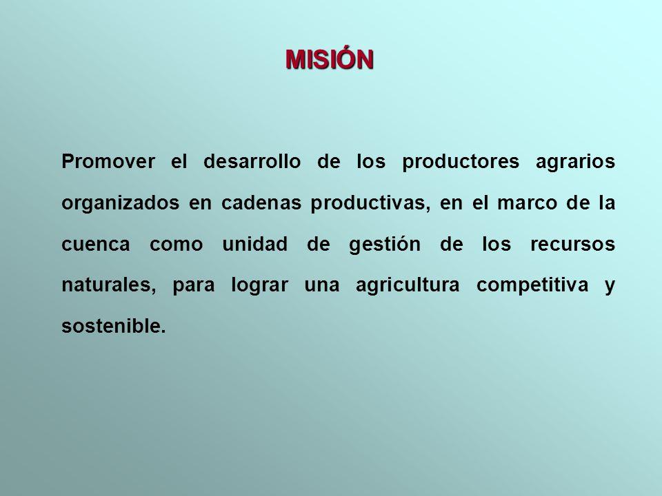 Promover el desarrollo de los productores agrarios organizados en cadenas productivas, en el marco de la cuenca como unidad de gestión de los recursos