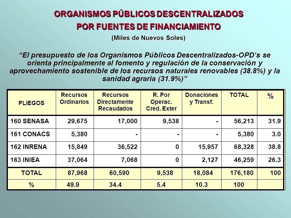 ORGANISMOS PÚBLICOS DESCENTRALIZADOS POR FUENTES DE FINANCIAMIENTO (Miles de Nuevos Soles) 5.4 9,538 0 0 - R. Por Operac. Cred. Exter 10.3 18,084 2,12