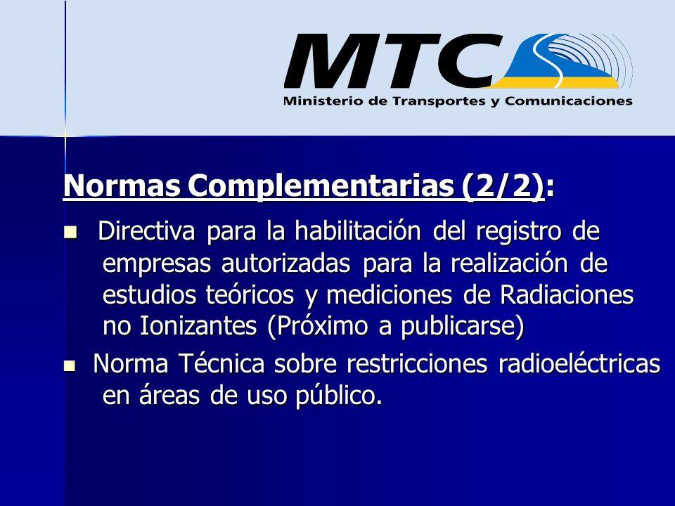 Normas Complementarias (2/2): Directiva para la habilitación del registro de empresas autorizadas para la realización de estudios teóricos y medicione