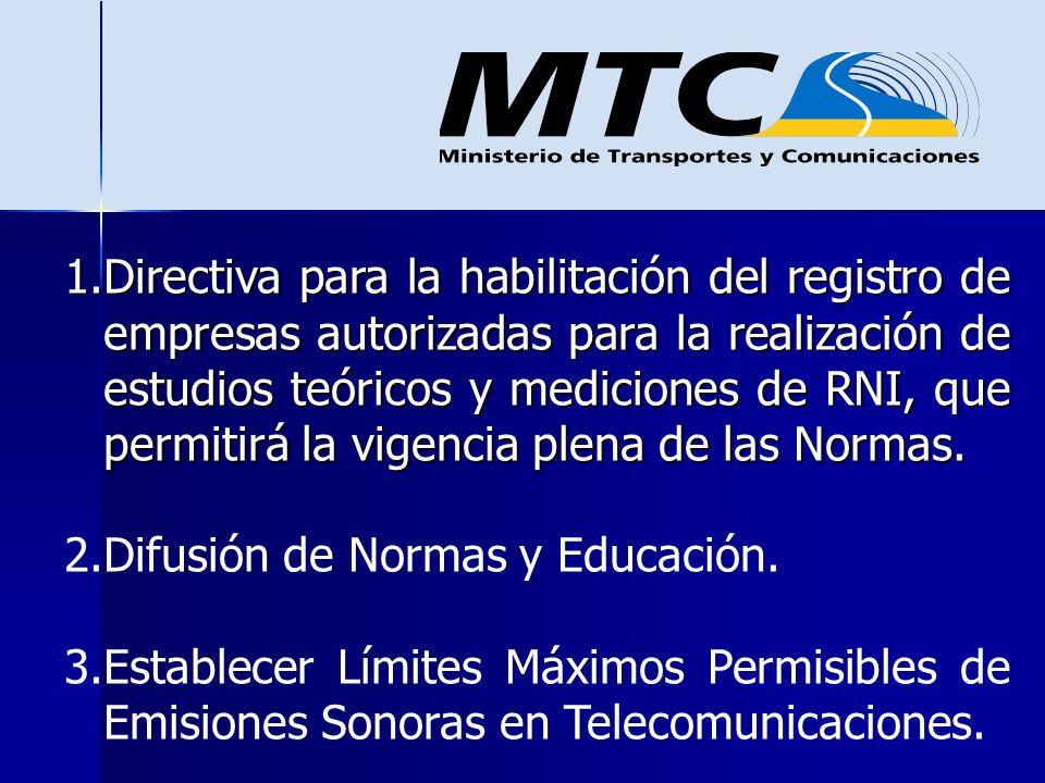 1.Directiva para la habilitación del registro de empresas autorizadas para la realización de estudios teóricos y mediciones de RNI, que permitirá la v