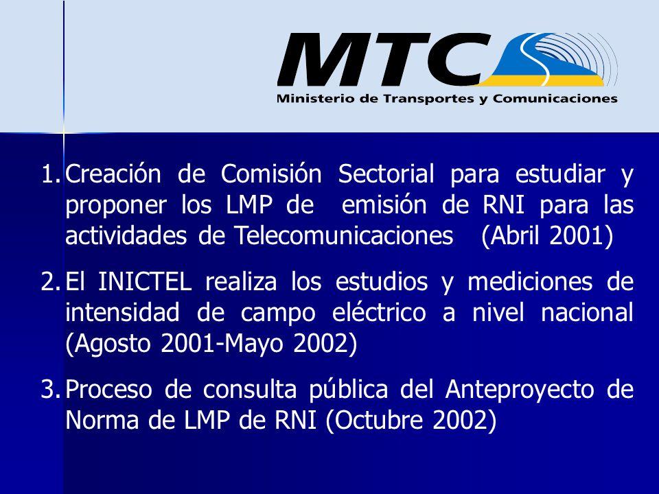 1.Creación de Comisión Sectorial para estudiar y proponer los LMP de emisión de RNI para las actividades de Telecomunicaciones (Abril 2001) 2.El INICT