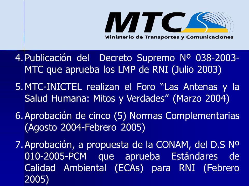 4.Publicación del Decreto Supremo Nº 038-2003- MTC que aprueba los LMP de RNI (Julio 2003) 5.MTC-INICTEL realizan el Foro Las Antenas y la Salud Human