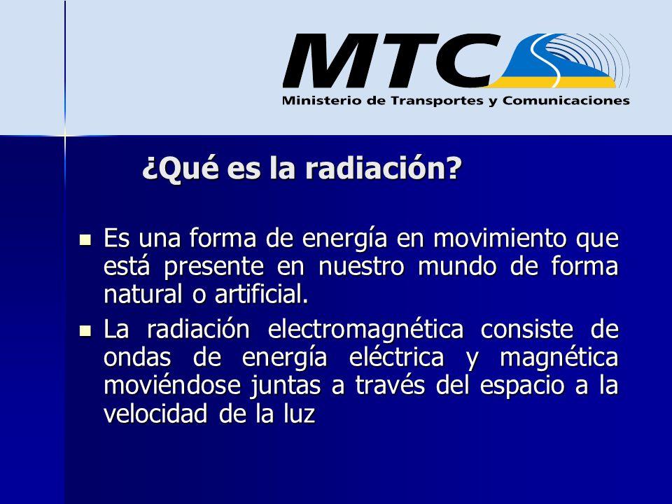 Radiación No Ionizante Aquella radiación que no tienen la suficiente energía para modificar las moléculas de las células vivas, como por ejemplo las radiaciones que emanan de las antenas de radio, televisión y celulares.