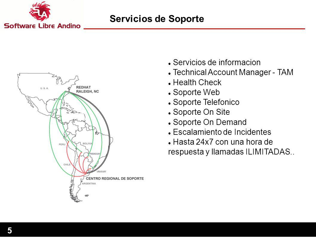 5 Servicios de informacion Technical Account Manager - TAM Health Check Soporte Web Soporte Telefonico Soporte On Site Soporte On Demand Escalamiento
