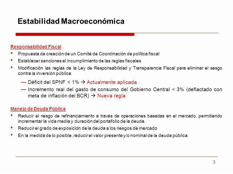 3 Estabilidad Macroeconómica Responsabilidad Fiscal Propuesta de creación de un Comité de Coordinación de política fiscal Establecer sanciones al incu