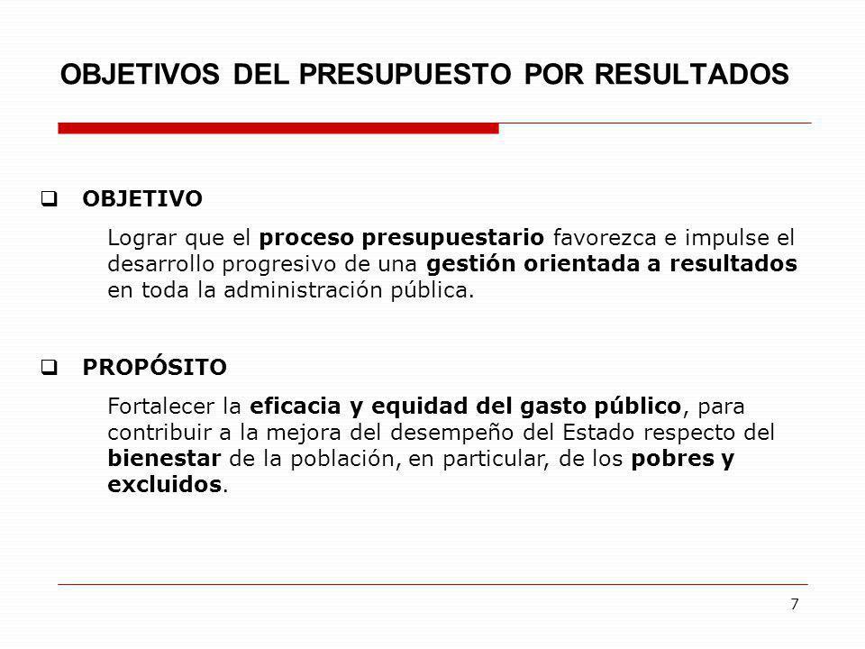 7 OBJETIVOS DEL PRESUPUESTO POR RESULTADOS OBJETIVO Lograr que el proceso presupuestario favorezca e impulse el desarrollo progresivo de una gestión o
