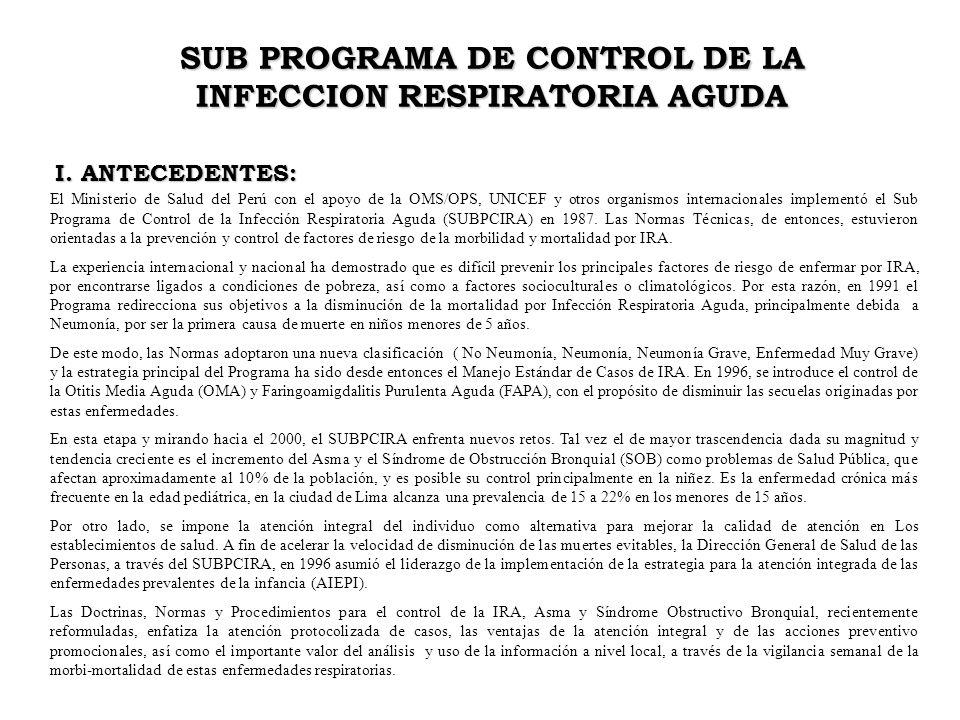 I. ANTECEDENTES: SUB PROGRAMA DE CONTROL DE LA INFECCION RESPIRATORIA AGUDA El Ministerio de Salud del Perú con el apoyo de la OMS/OPS, UNICEF y otros