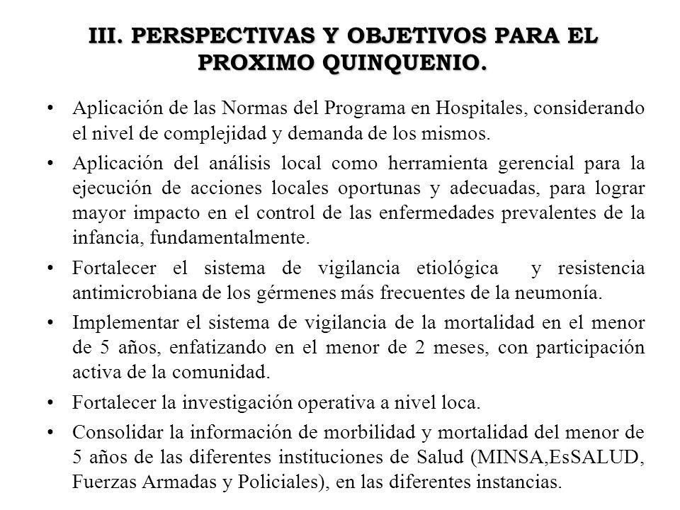 III. PERSPECTIVAS Y OBJETIVOS PARA EL PROXIMO QUINQUENIO. Aplicación de las Normas del Programa en Hospitales, considerando el nivel de complejidad y