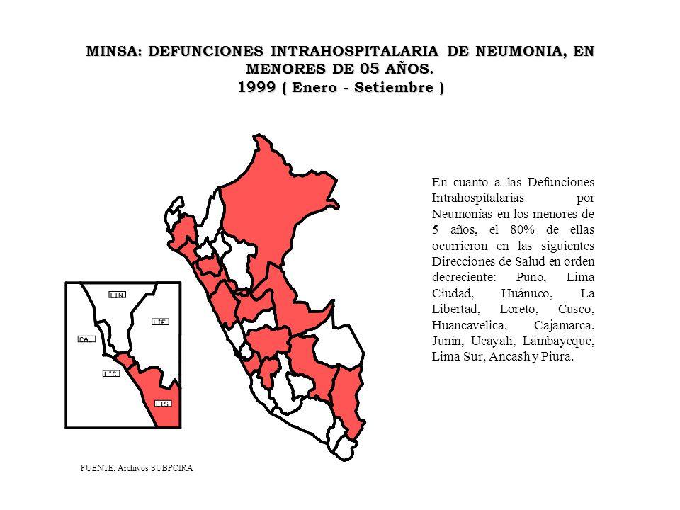 MINSA: DEFUNCIONES INTRAHOSPITALARIA DE NEUMONIA, EN MENORES DE 05 AÑOS. 1999 ( Enero - Setiembre ) En cuanto a las Defunciones Intrahospitalarias por