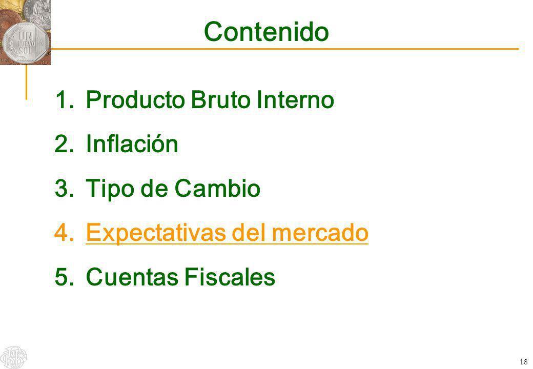18 Contenido 1.Producto Bruto Interno 2.Inflación 3.Tipo de Cambio 4.Expectativas del mercado 5.Cuentas Fiscales