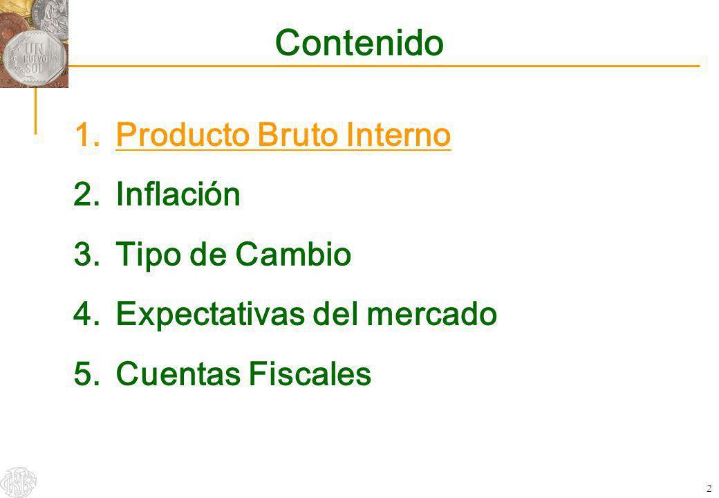 2 Contenido 1.Producto Bruto Interno 2.Inflación 3.Tipo de Cambio 4.Expectativas del mercado 5.Cuentas Fiscales