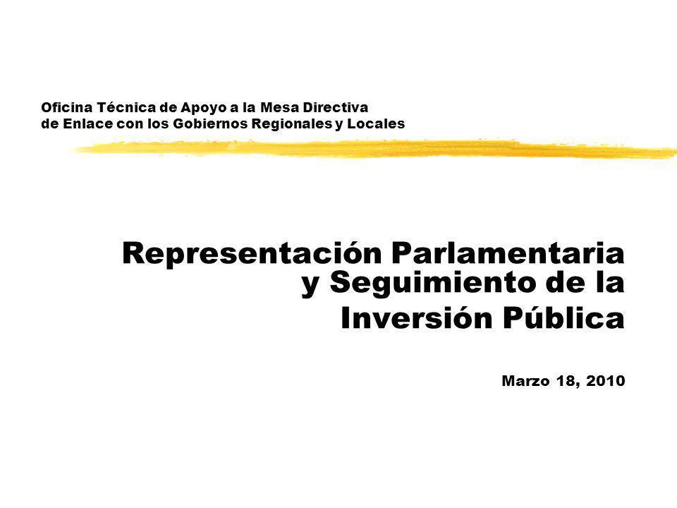 Oficina Técnica de Apoyo a la Mesa Directiva de Enlace con los Gobiernos Regionales y Locales Representación Parlamentaria y Seguimiento de la Inversión Pública Marzo 18, 2010