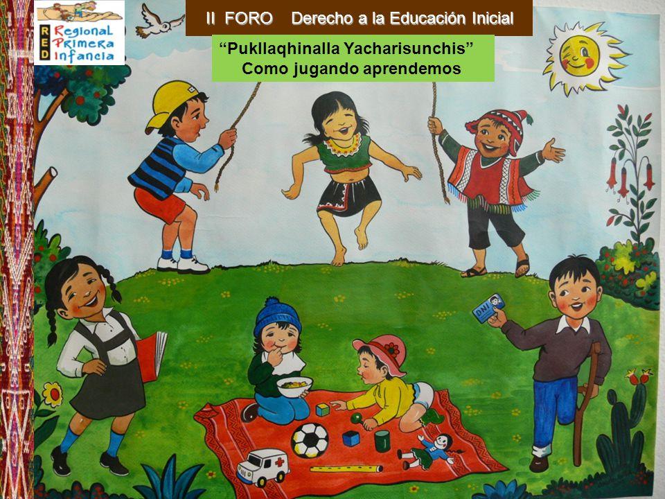 El Gobierno Regional del Cusco a nombre de la Red Regional de Primera Infancia de la Región Cusco, en el marco de la celebración de los 80 años de la Educación Inicial en el Perú, invita a usted a participar en el: II FORO DERECHO A LA EDUCACION INICIAL Pukllaqhinalla Yacharisunchis- Como jugando aprendemos FECHA : 30 y 31 de mayo del 2011 HORARIO: De 8.00 a 17.00 horas LUGAR : Sala Pisaq del Centro de Convenciones de la Municipalidad Provincial del Cusco Organiza: Integrantes de la RED: Asociación Pukllasunchis
