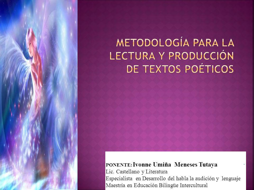 aa PONENTE: Ivonne Umiña Meneses Tutaya Lic. Castellano y Literatura Especialista en Desarrollo del habla la audición y lenguaje Maestría en Educación