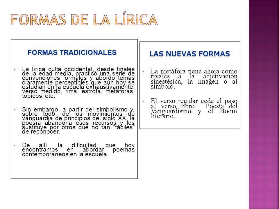FORMAS TRADICIONALES FORMAS TRADICIONALES La lírica culta occidental, desde finales de la edad media, practicó una serie de convenciones formales y ab