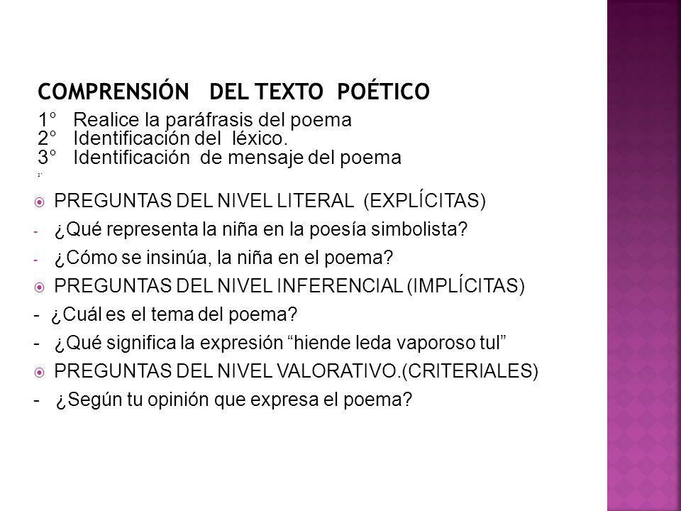 1° Realice la paráfrasis del poema 2° Identificación del léxico. 3° Identificación de mensaje del poema 3° PREGUNTAS DEL NIVEL LITERAL (EXPLÍCITAS) -