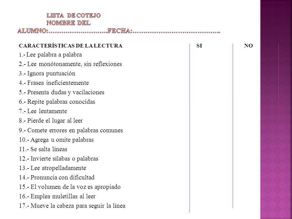CARACTERÍSTICAS DE LA LECTURA SI NO 1.- Lee palabra a palabra 2.- Lee monótonamente, sin reflexiones 3.- Ignora puntuación 4.- Frasea ineficientemente