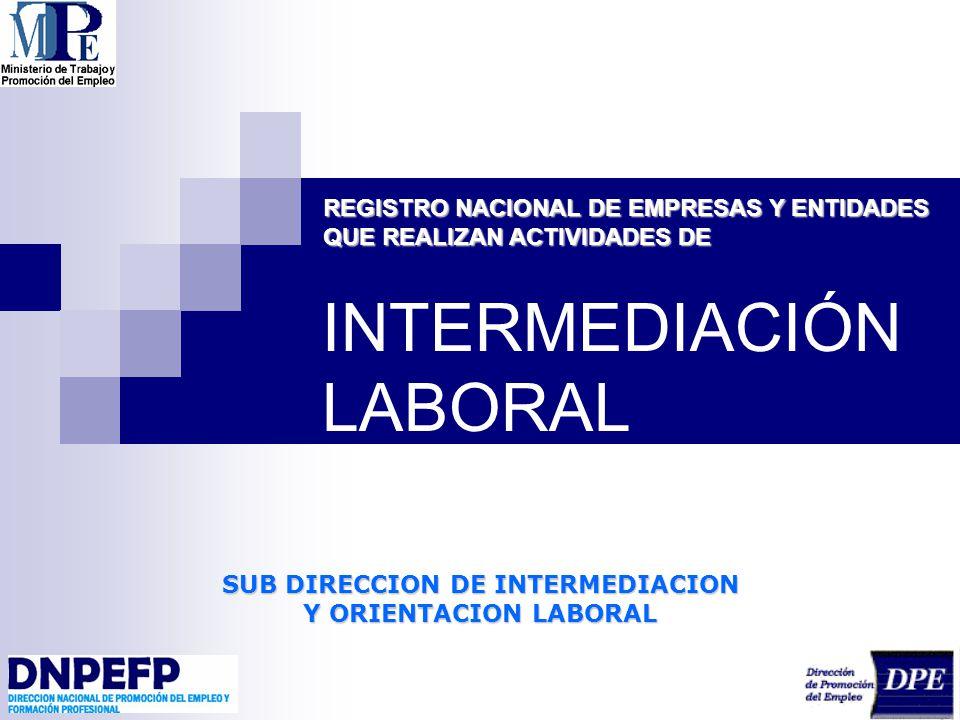 SUB DIRECCION DE INTERMEDIACION Y ORIENTACION LABORAL INTERMEDIACIÓN LABORAL REGISTRO NACIONAL DE EMPRESAS Y ENTIDADES QUE REALIZAN ACTIVIDADES DE