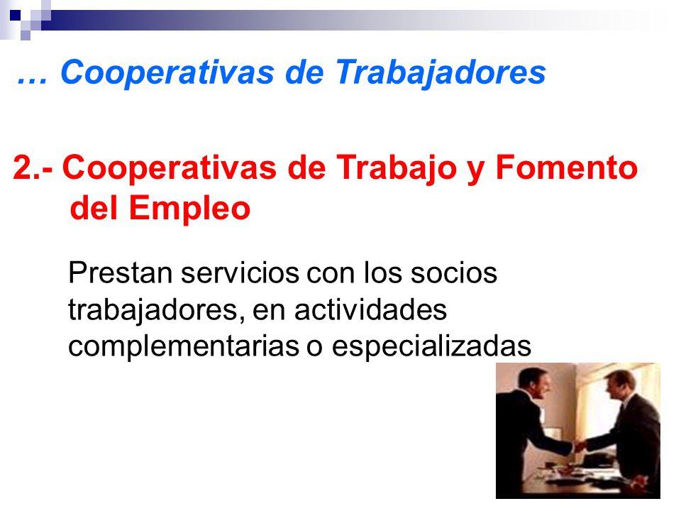 2.- Cooperativas de Trabajo y Fomento del Empleo Prestan servicios con los socios trabajadores, en actividades complementarias o especializadas … Cooperativas de Trabajadores