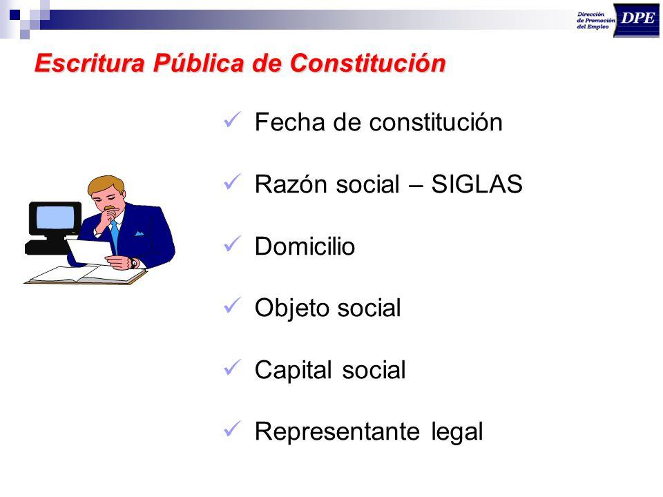 Escritura Pública de Constitución Fecha de constitución Razón social – SIGLAS Domicilio Objeto social Capital social Representante legal
