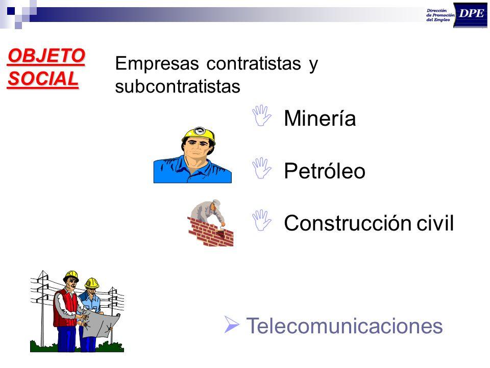 OBJETO SOCIAL Empresas contratistas y subcontratistas Minería Petróleo Construcción civil Telecomunicaciones