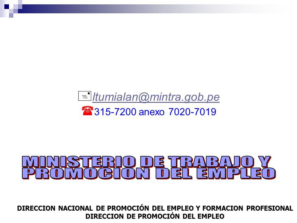 l tumialan@mintra.gob.pe 3 15-7200 anexo 7020-7019 DIRECCION NACIONAL DE PROMOCIÓN DEL EMPLEO Y FORMACION PROFESIONAL DIRECCION DE PROMOCIÓN DEL EMPLEO