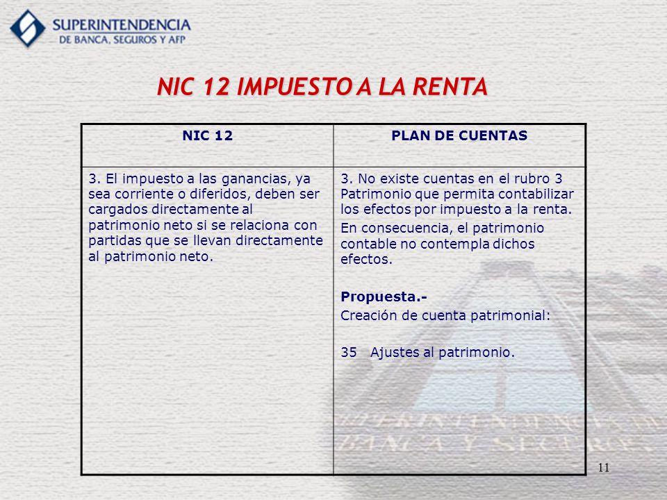 11 NIC 12 IMPUESTO A LA RENTA NIC 12PLAN DE CUENTAS 3. El impuesto a las ganancias, ya sea corriente o diferidos, deben ser cargados directamente al p