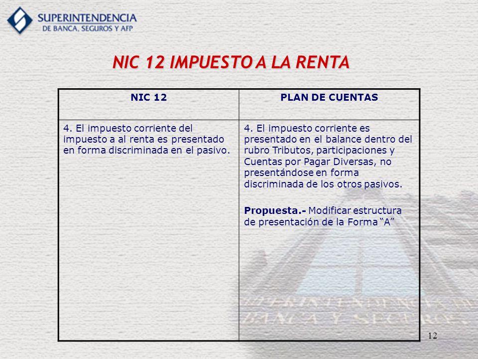 12 NIC 12 IMPUESTO A LA RENTA NIC 12PLAN DE CUENTAS 4. El impuesto corriente del impuesto a al renta es presentado en forma discriminada en el pasivo.