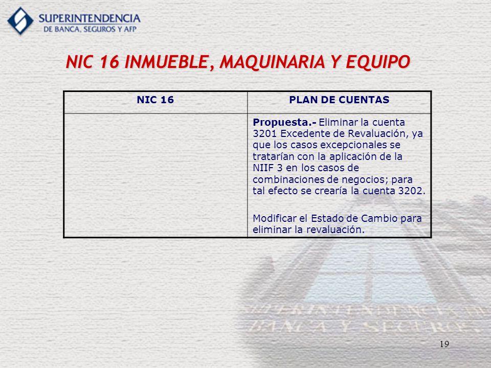 19 NIC 16 INMUEBLE, MAQUINARIA Y EQUIPO NIC 16PLAN DE CUENTAS Propuesta.- Eliminar la cuenta 3201 Excedente de Revaluación, ya que los casos excepcion