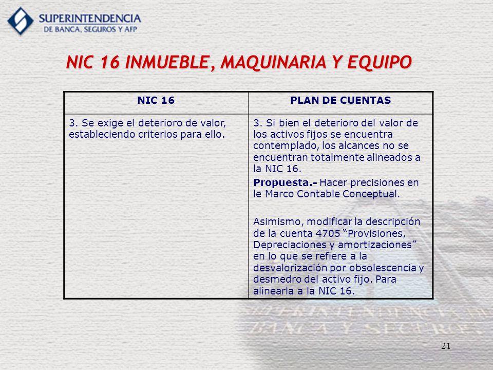 21 NIC 16 INMUEBLE, MAQUINARIA Y EQUIPO NIC 16PLAN DE CUENTAS 3. Se exige el deterioro de valor, estableciendo criterios para ello. 3. Si bien el dete