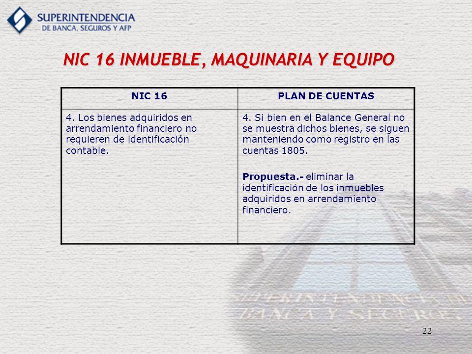 22 NIC 16 INMUEBLE, MAQUINARIA Y EQUIPO NIC 16PLAN DE CUENTAS 4. Los bienes adquiridos en arrendamiento financiero no requieren de identificación cont
