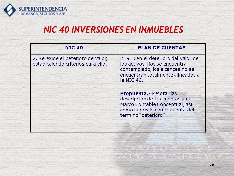 26 NIC 40 INVERSIONES EN INMUEBLES NIC 40PLAN DE CUENTAS 2. Se exige el deterioro de valor, estableciendo criterios para ello. 2. Si bien el deterioro