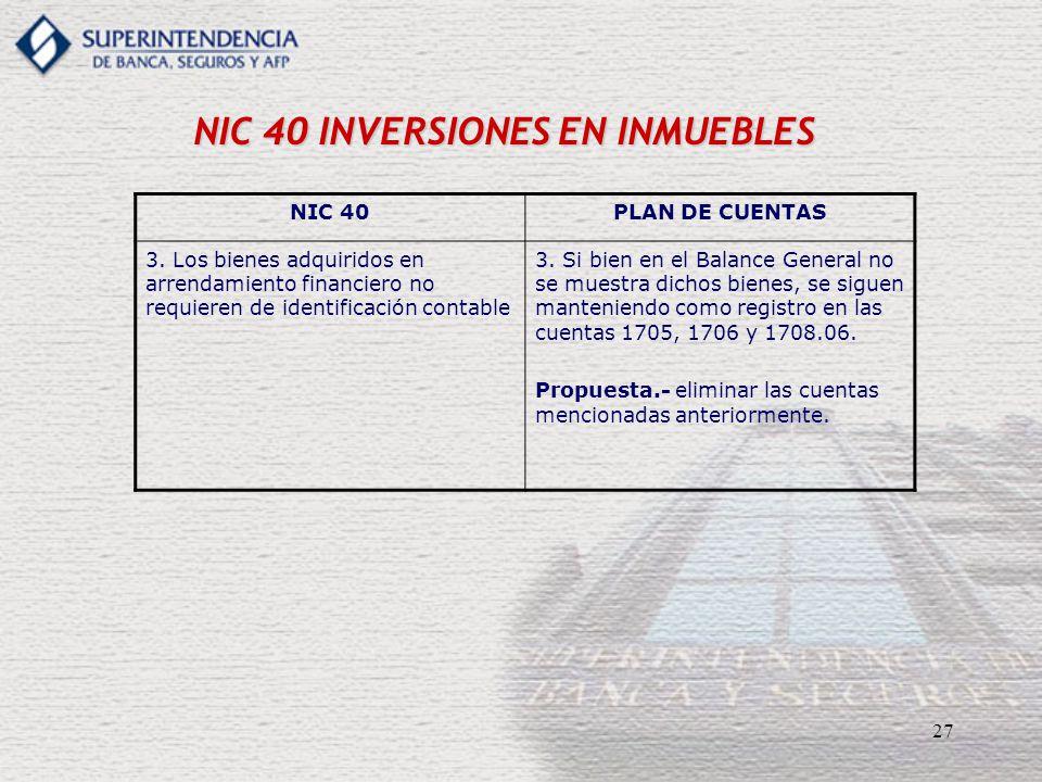 27 NIC 40 INVERSIONES EN INMUEBLES NIC 40PLAN DE CUENTAS 3. Los bienes adquiridos en arrendamiento financiero no requieren de identificación contable