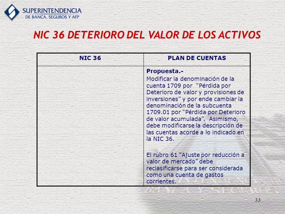 33 NIC 36 DETERIORO DEL VALOR DE LOS ACTIVOS NIC 36PLAN DE CUENTAS Propuesta.- Modificar la denominación de la cuenta 1709 por Pérdida por Deterioro d