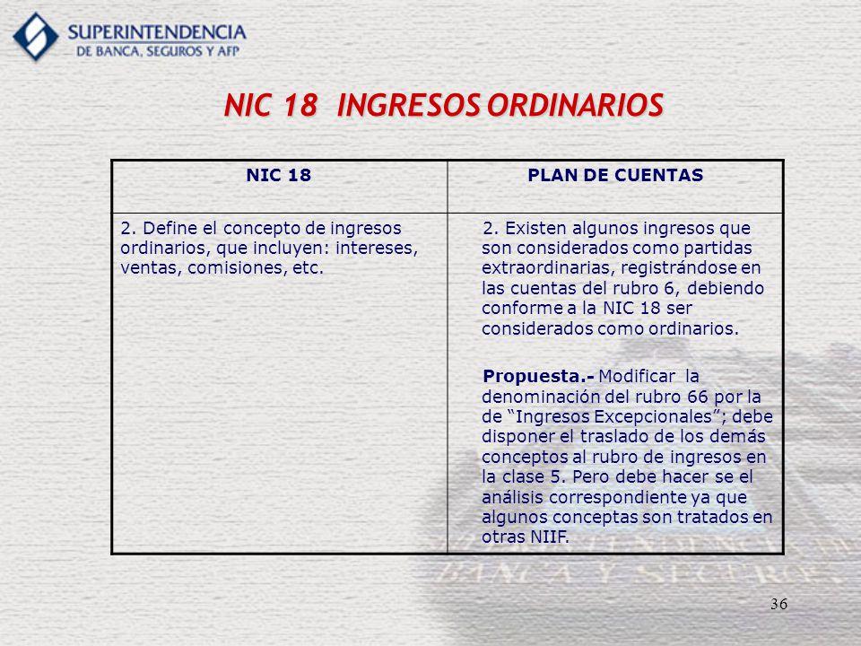 36 NIC 18 INGRESOS ORDINARIOS NIC 18PLAN DE CUENTAS 2. Define el concepto de ingresos ordinarios, que incluyen: intereses, ventas, comisiones, etc. 2.