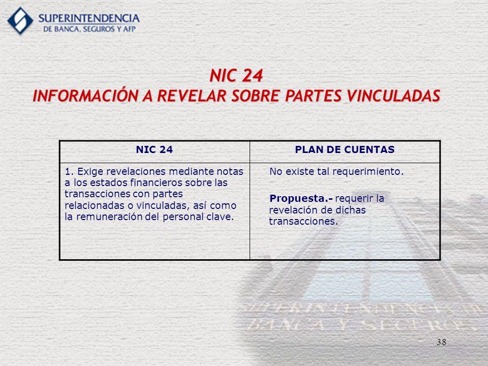 38 NIC 24 INFORMACIÓN A REVELAR SOBRE PARTES VINCULADAS NIC 24PLAN DE CUENTAS 1. Exige revelaciones mediante notas a los estados financieros sobre las