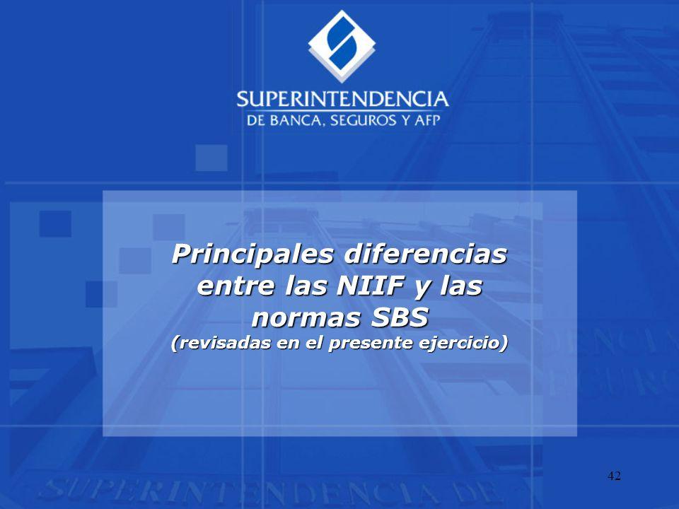 42 Principales diferencias entre las NIIF y las normas SBS (revisadas en el presente ejercicio)