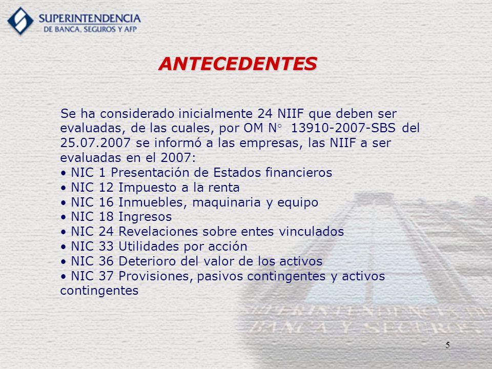 5 ANTECEDENTES Se ha considerado inicialmente 24 NIIF que deben ser evaluadas, de las cuales, por OM N° 13910-2007-SBS del 25.07.2007 se informó a las