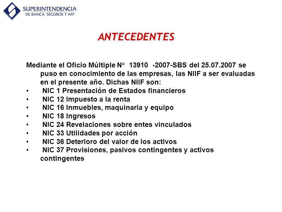 ANTECEDENTES Mediante el Oficio Múltiple N° 13910 -2007-SBS del 25.07.2007 se puso en conocimiento de las empresas, las NIIF a ser evaluadas en el pre