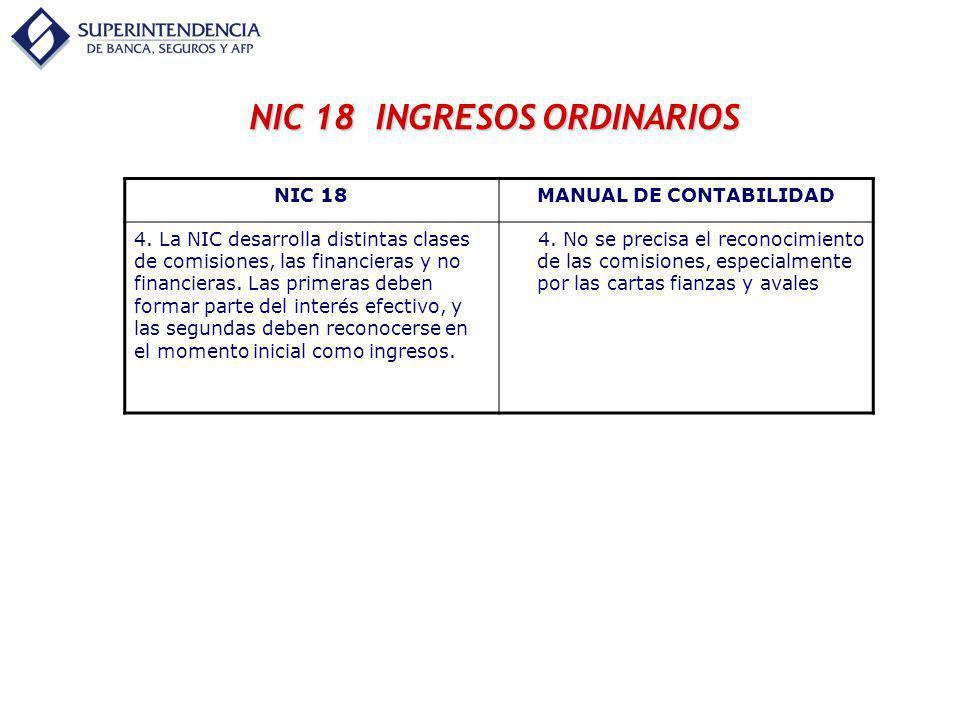 NIC 18 INGRESOS ORDINARIOS NIC 18MANUAL DE CONTABILIDAD 4. La NIC desarrolla distintas clases de comisiones, las financieras y no financieras. Las pri
