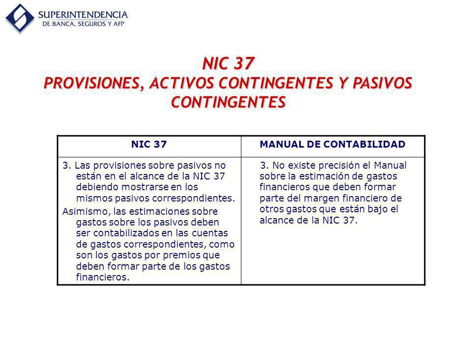 NIC 37 PROVISIONES, ACTIVOS CONTINGENTES Y PASIVOS CONTINGENTES NIC 37MANUAL DE CONTABILIDAD 3. Las provisiones sobre pasivos no están en el alcance d