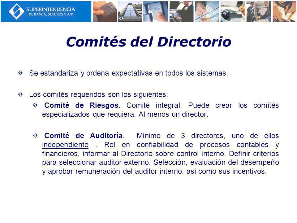 Comités del Directorio Se estandariza y ordena expectativas en todos los sistemas.