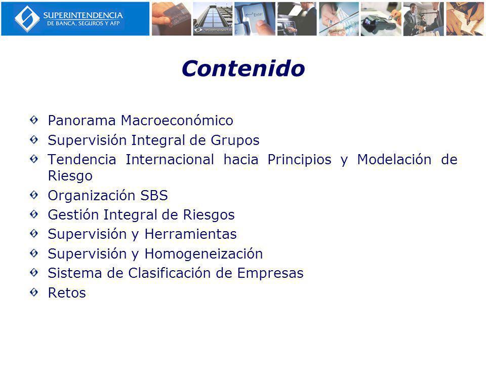 Contenido Panorama Macroeconómico Supervisión Integral de Grupos Tendencia Internacional hacia Principios y Modelación de Riesgo Organización SBS Gestión Integral de Riesgos Supervisión y Herramientas Supervisión y Homogeneización Sistema de Clasificación de Empresas Retos