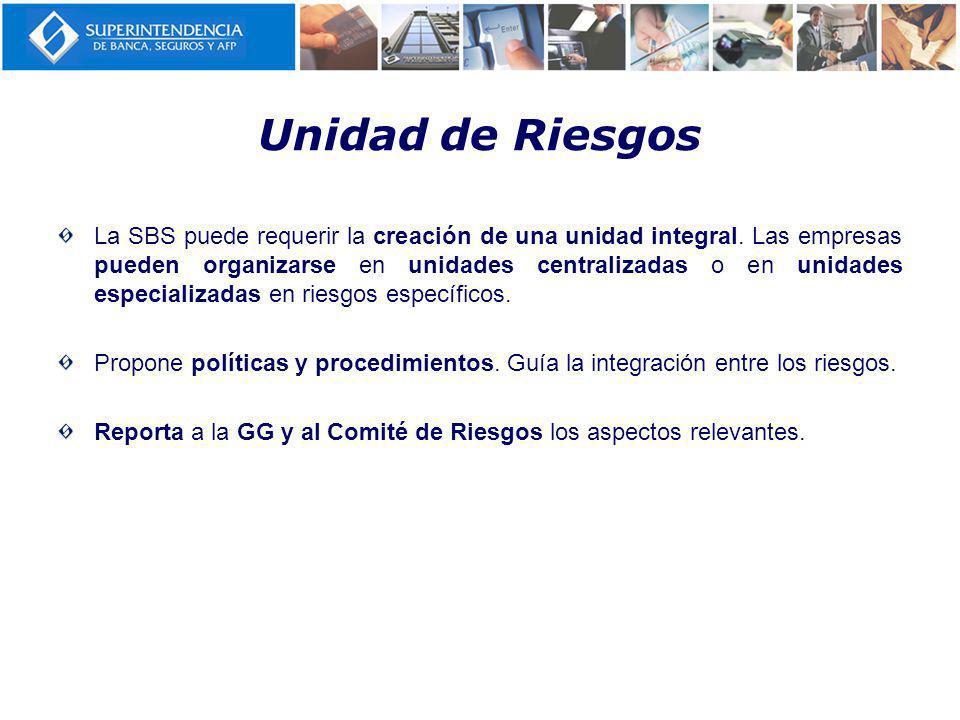 Unidad de Riesgos La SBS puede requerir la creación de una unidad integral.