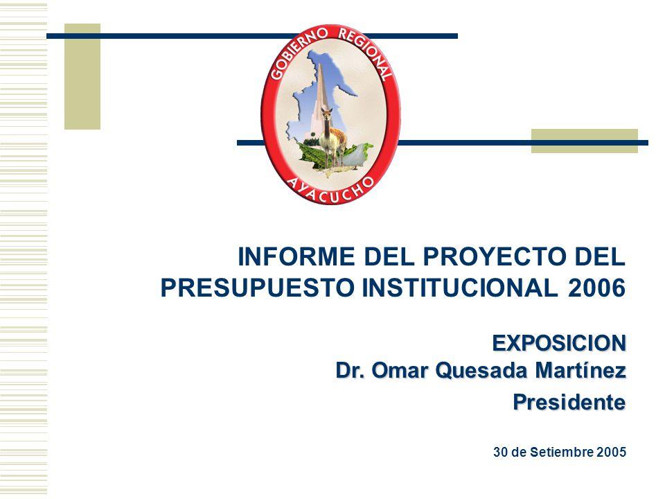 INFORME DEL PROYECTO DEL PRESUPUESTO INSTITUCIONAL 2006EXPOSICION Dr. Omar Quesada Martínez Presidente 30 de Setiembre 2005