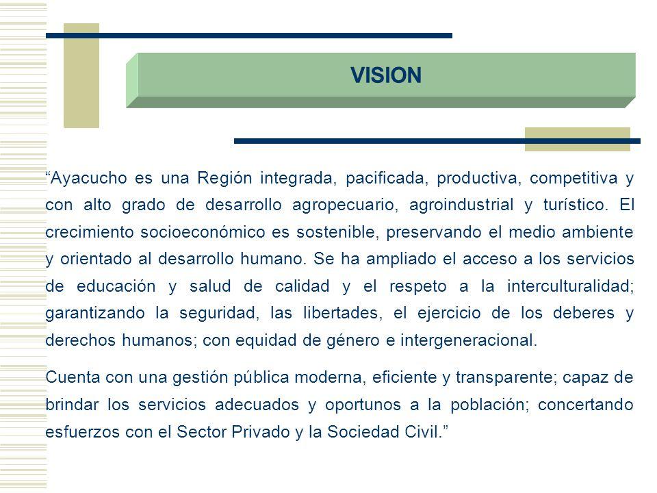 VISION Ayacucho es una Región integrada, pacificada, productiva, competitiva y con alto grado de desarrollo agropecuario, agroindustrial y turístico.