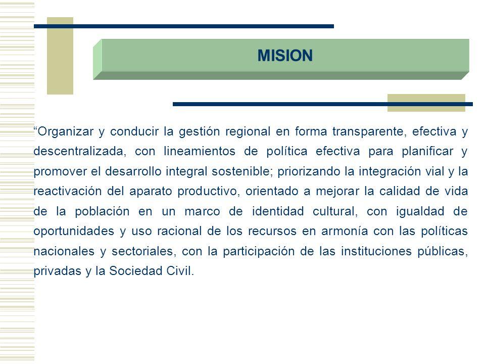 MISION Organizar y conducir la gestión regional en forma transparente, efectiva y descentralizada, con lineamientos de política efectiva para planific
