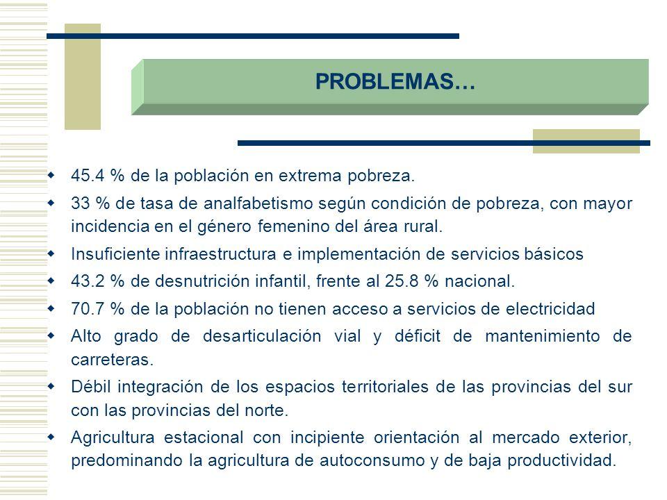 45.4 % de la población en extrema pobreza. 33 % de tasa de analfabetismo según condición de pobreza, con mayor incidencia en el género femenino del ár